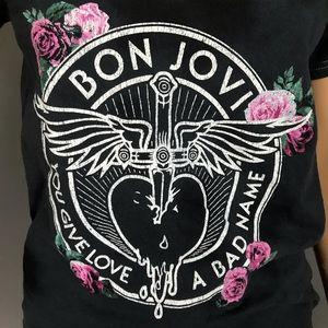 Bon Jovi TShirt Short Sleeves Black Distressed S